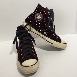 Converse dark sangria with gold studs high tops, 6